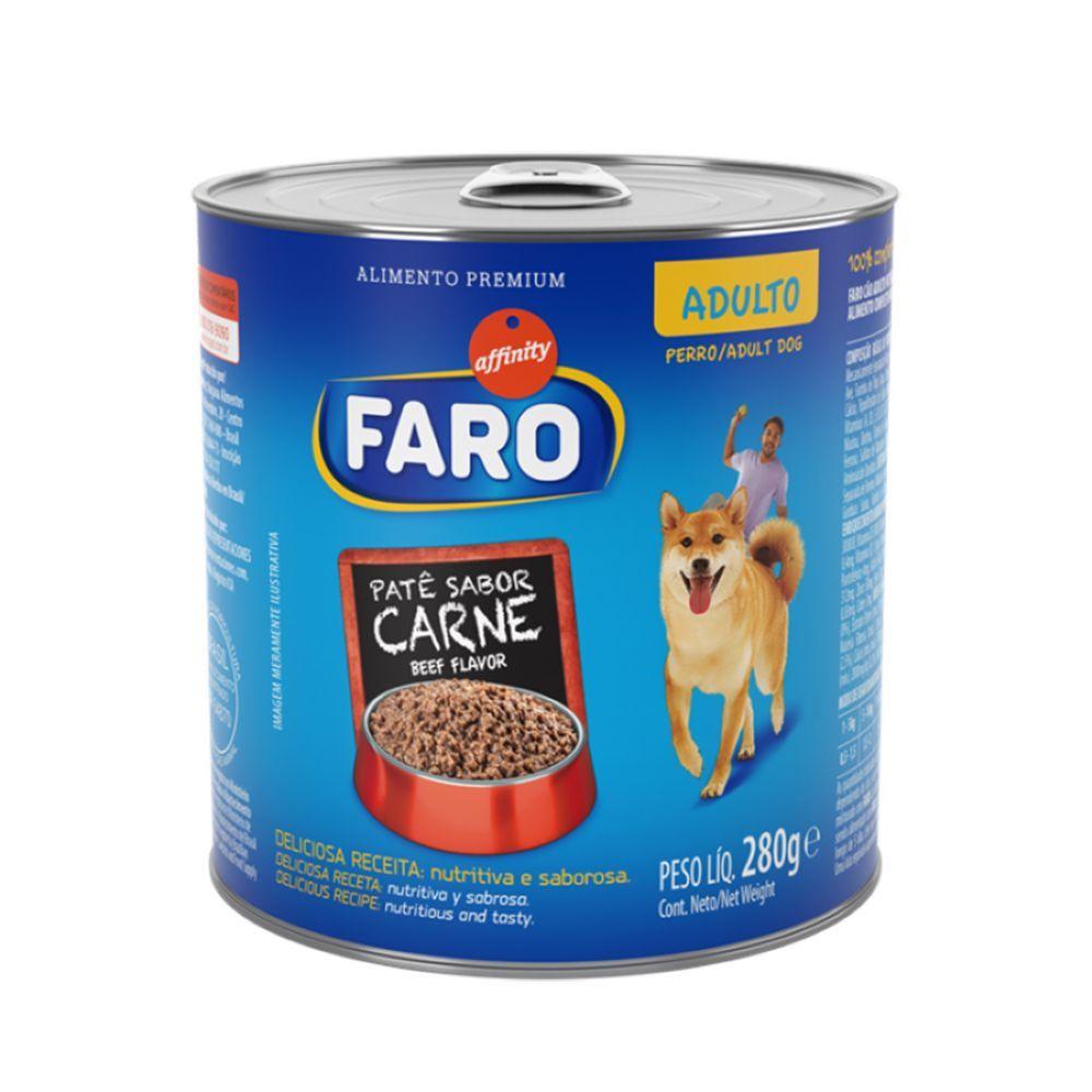 Ração faro patê carne para cães adultos 280g