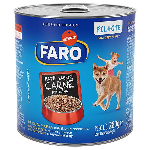 Ração faro pate carne para cães filhotes 280g