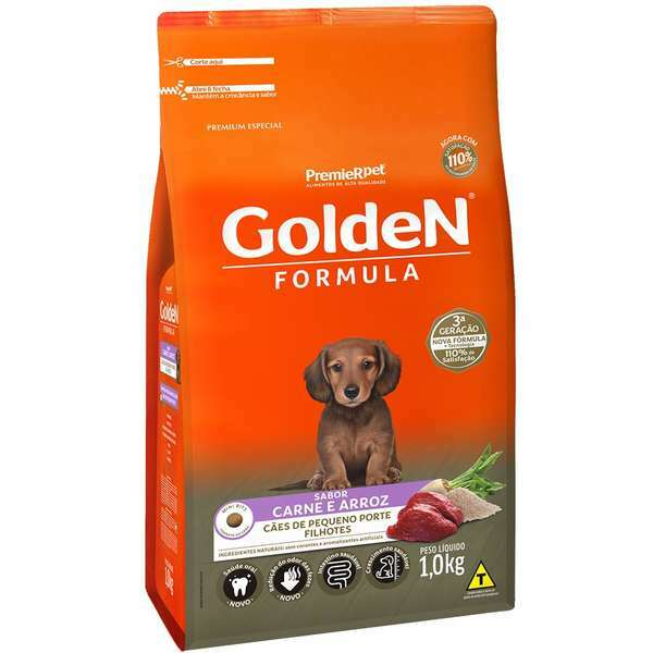 Ração Golden Formula Carne e Arroz Mini Bits para Cães Filhotes
