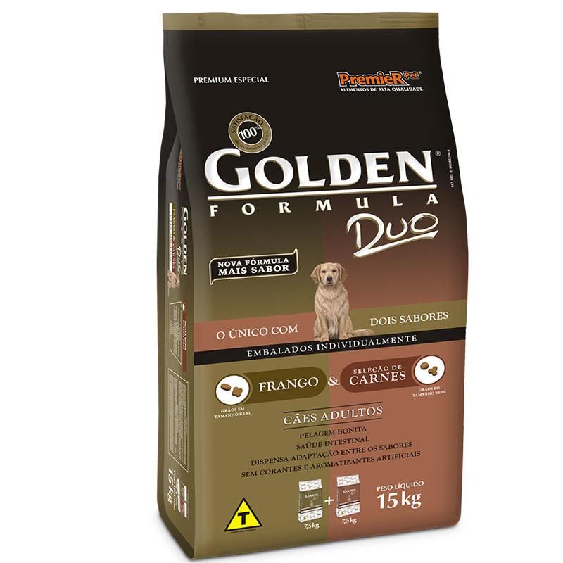 Ração golden formula duo frango e seleção de carnes para cães adultos 15kg