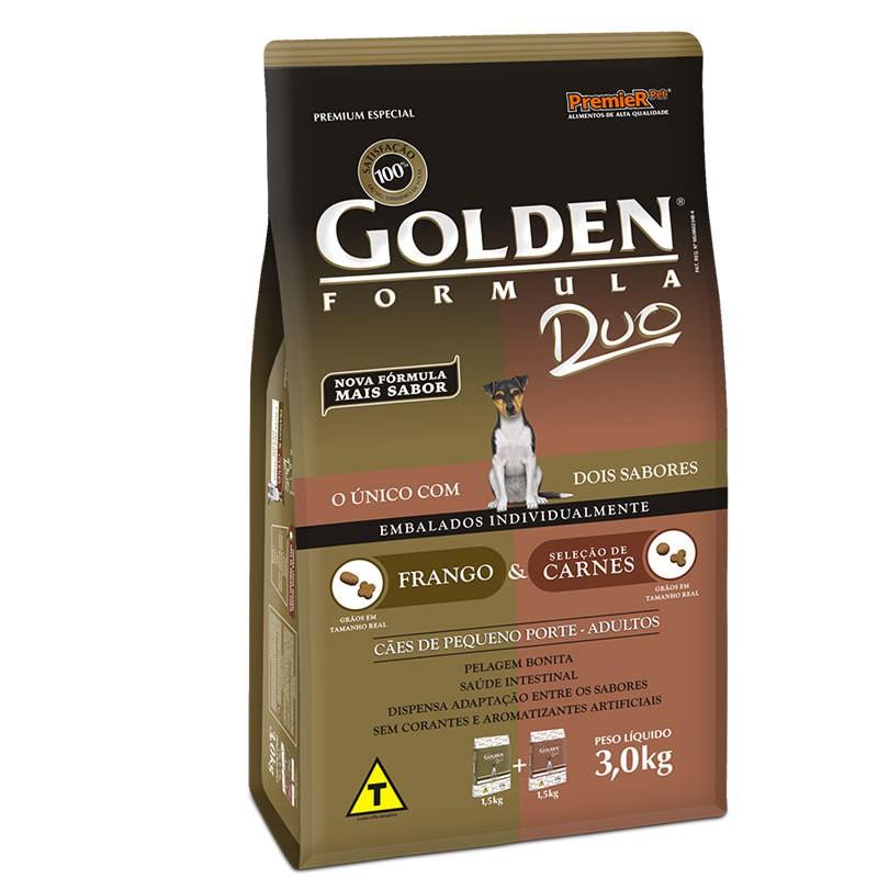 Ração golden formula duo frango e seleção de carnes para cães adultos de pequeno porte 3kg