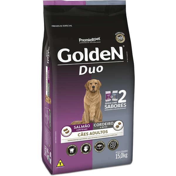 Ração golden formula duo salmão com ervas e cordeiro e arroz para cães adultos 15kg