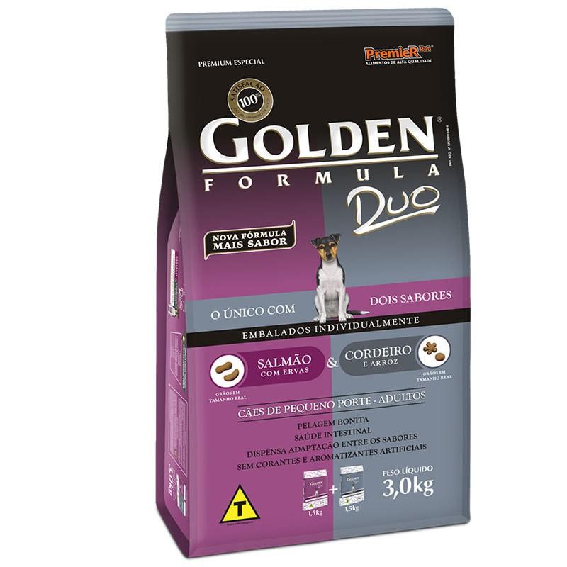 Ração golden formula duo salmão com ervas e cordeiro e arroz para cães adultos de pequeno porte 3kg