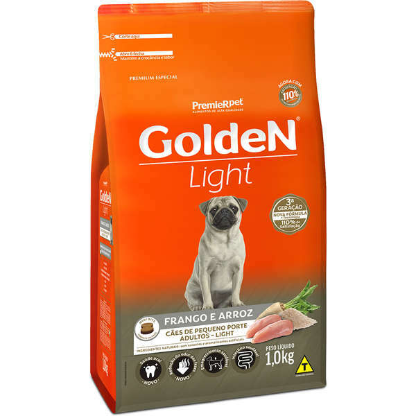 Ração Golden Formula Light Frango e Arroz Mini Bits para Cães Adultos