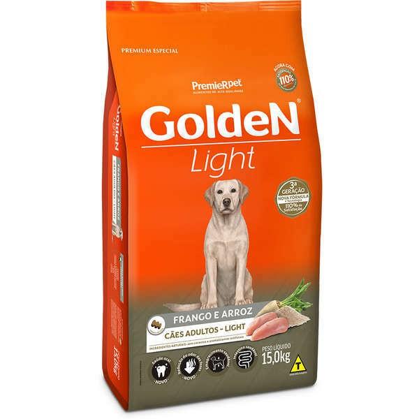 Ração golden formula light frango e arroz para cães adultos 15kg