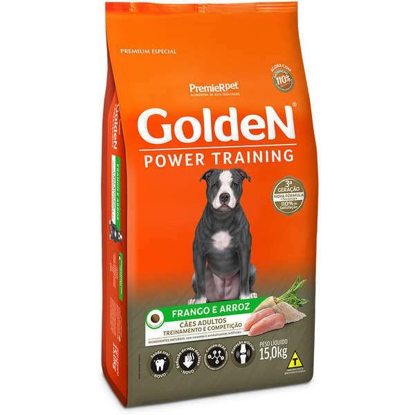 Ração golden formula power training frango e arroz para cães adultos 15kg