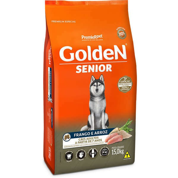 Ração golden formula senior frango e arroz para cães adultos 15kg