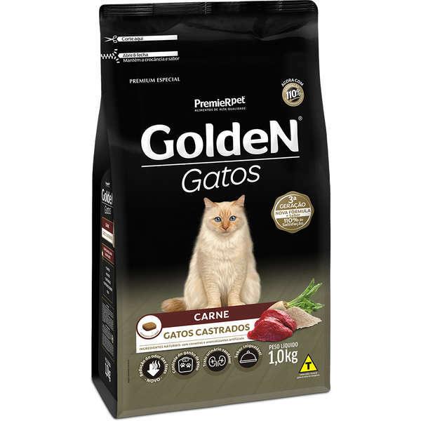 Ração Golden Gatos Carne para Gatos Castrados