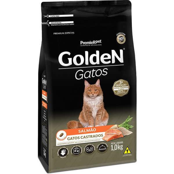 Ração Golden Gatos Salmão para Gatos Castrados