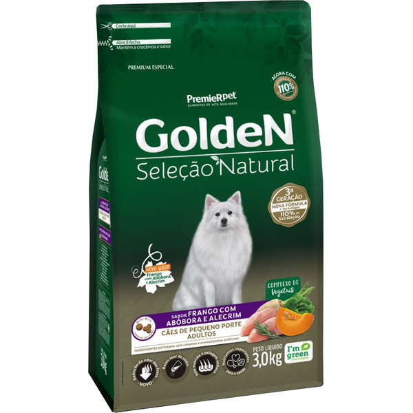 Ração Golden Seleção Natural Frango, Abóbora e Alecrim Mini Bits para Cães Adultos