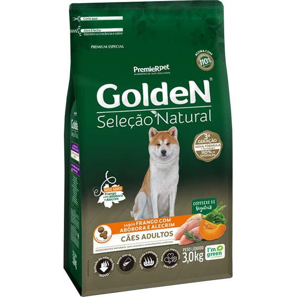 Ração Golden Seleção Natural Frango, Abóbora e Alecrim para Cães Adultos