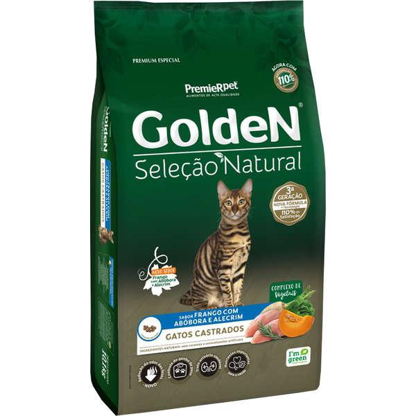 Ração Golden Seleção Natural Frango, Abóbora e Alecrim para Gatos Adultos Castrados