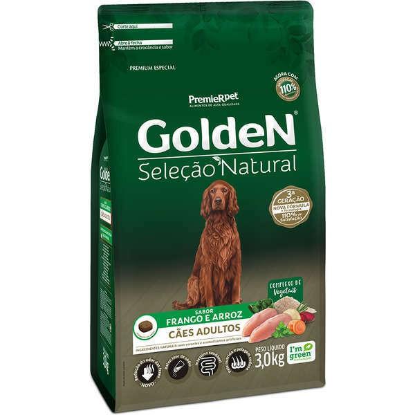 Ração Golden Seleção Natural Frango e Arroz para Cães Adultos
