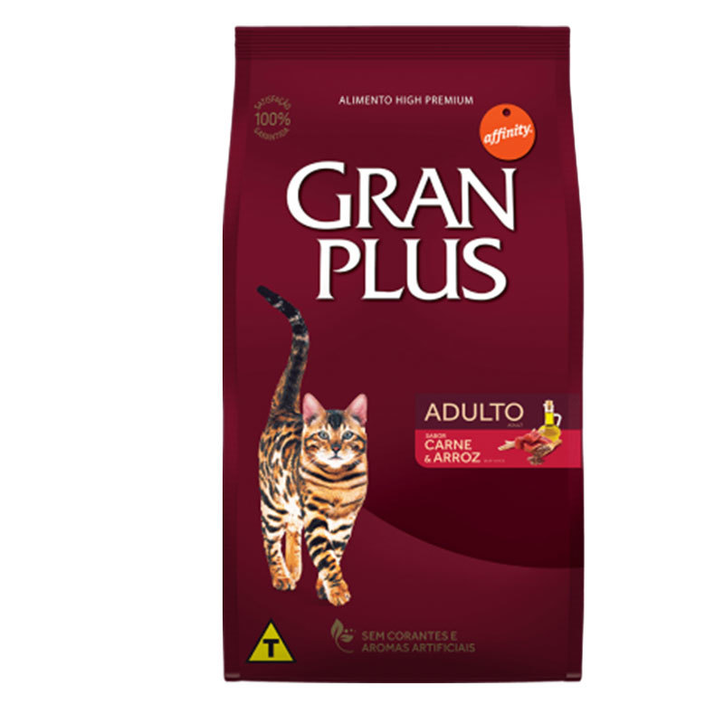 Ração gran plus carne e arroz para gatos adultos