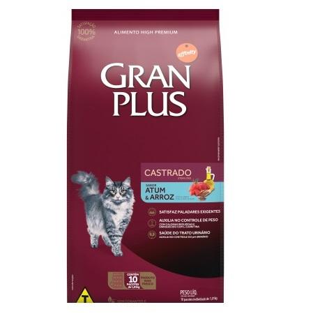 Ração Gran Plus Castrados Atum e Arroz para Gatos Adultos