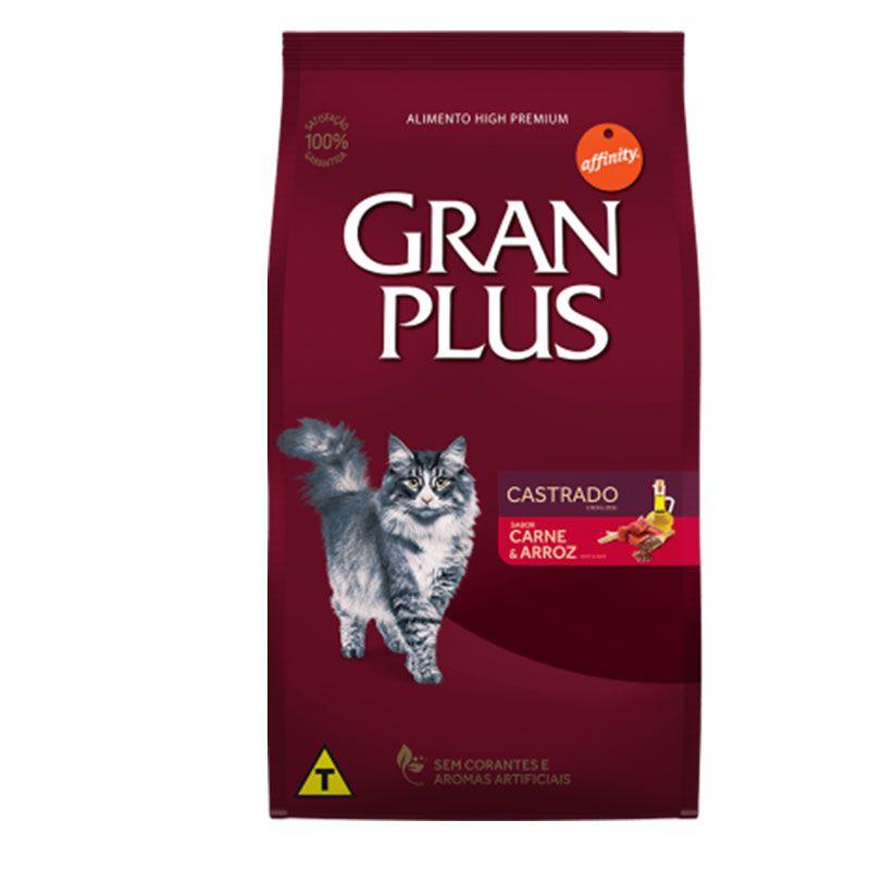 Ração Gran Plus Castrados Carne e Arroz para Gatos Adultos
