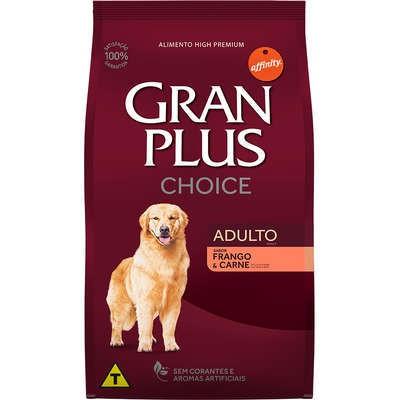 Ração gran plus choice frango e carne para cães adultos