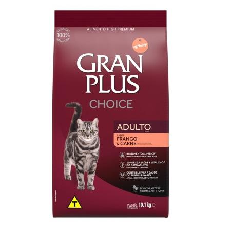 Ração gran plus choice frango e carne para gatos adultos 10kg