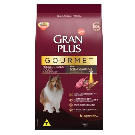 Ração Gran Plus Gourmet Ovelha e Arroz para Cães Adultos Raças Médias e Grandes