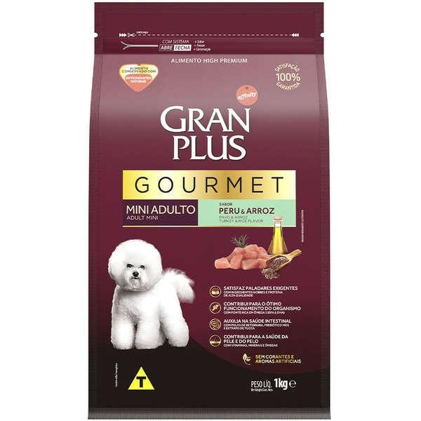 Ração Gran Plus Gourmet Peru e Arroz para Cães Adultos Raças Pequena