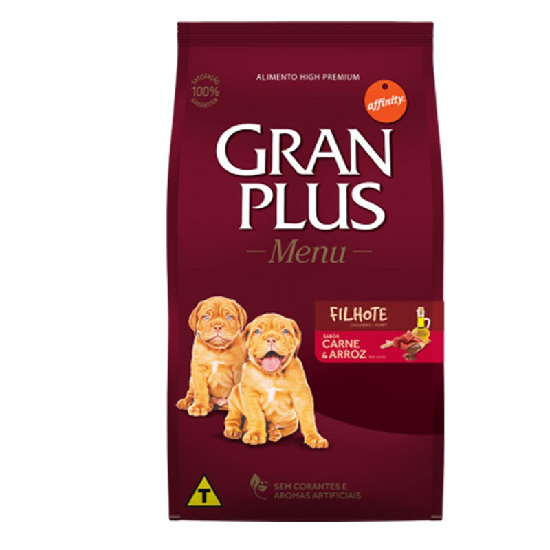 Ração gran plus menu carne e arroz para cães filhotes 15kg