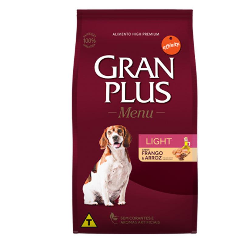 Ração gran plus menu light frango e arroz para cães adultos 15kg