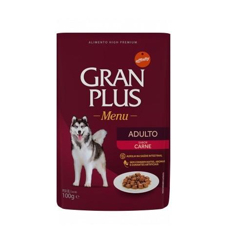 Ração gran plus menu sache carne para cães 100g