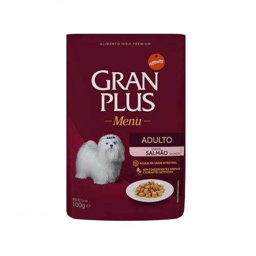 Ração gran plus menu sache salmão para cães 100g