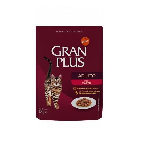 Ração gran plus sachê carne para gatos 85g