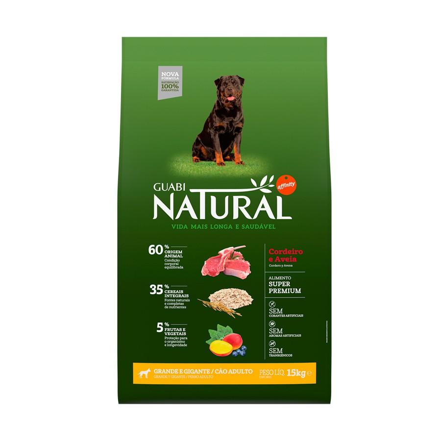 Ração guabi natural cordeiro e aveia para cães adultos porte grande e gigante 15kg