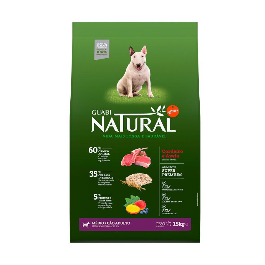 Ração guabi natural cordeiro e aveia para cães adultos porte médio 15kg
