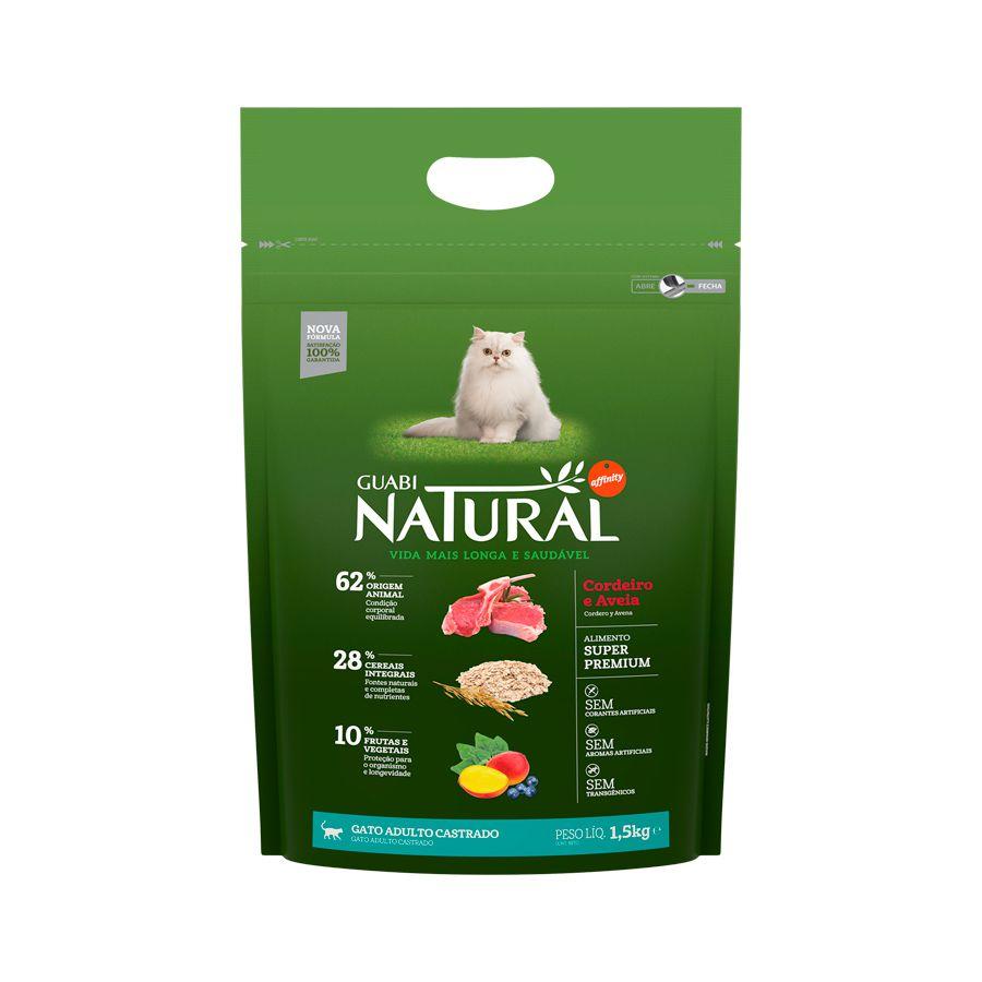 Ração Guabi Natural Cordeiro e Aveia para Gatos Adultos Castrados