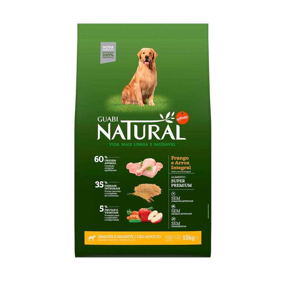Ração guabi natural frango e arroz integral para cães adultos 15kg