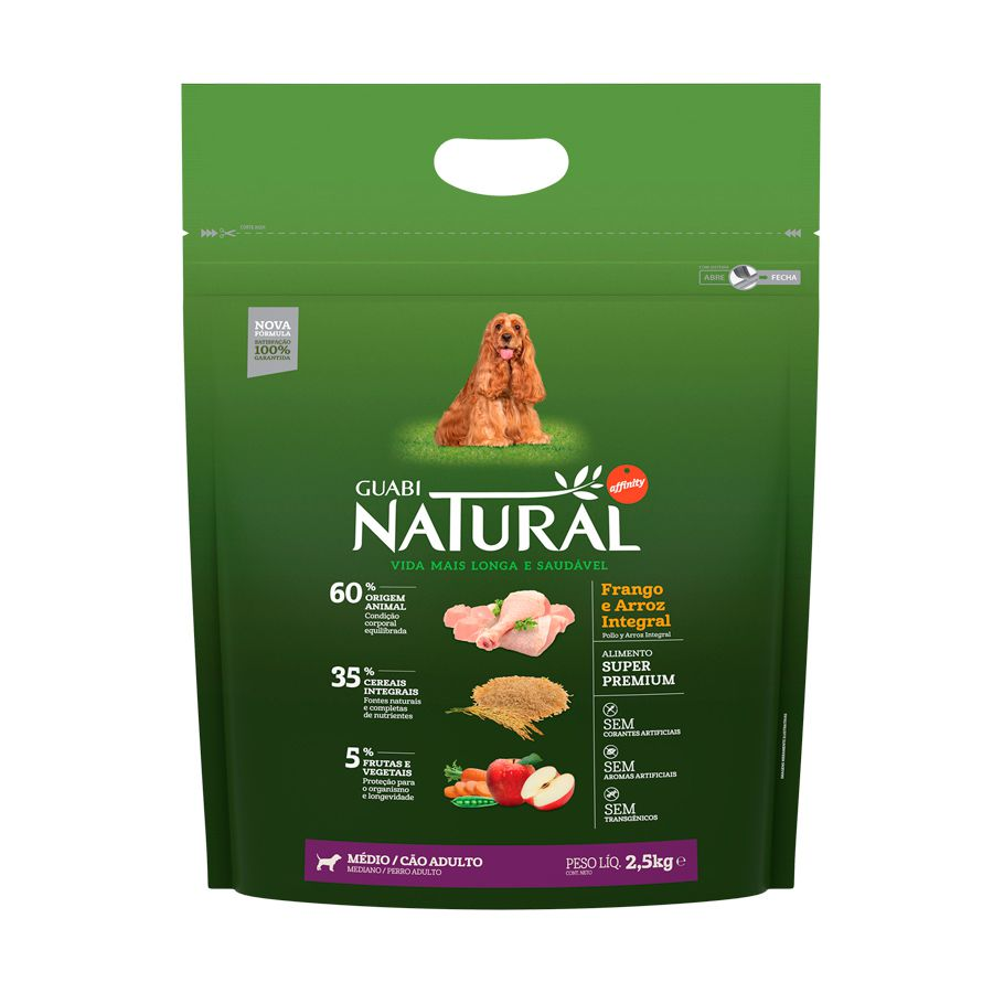 Ração Guabi Natural Frango e Arroz Integral para Cães Adultos Porte Médio