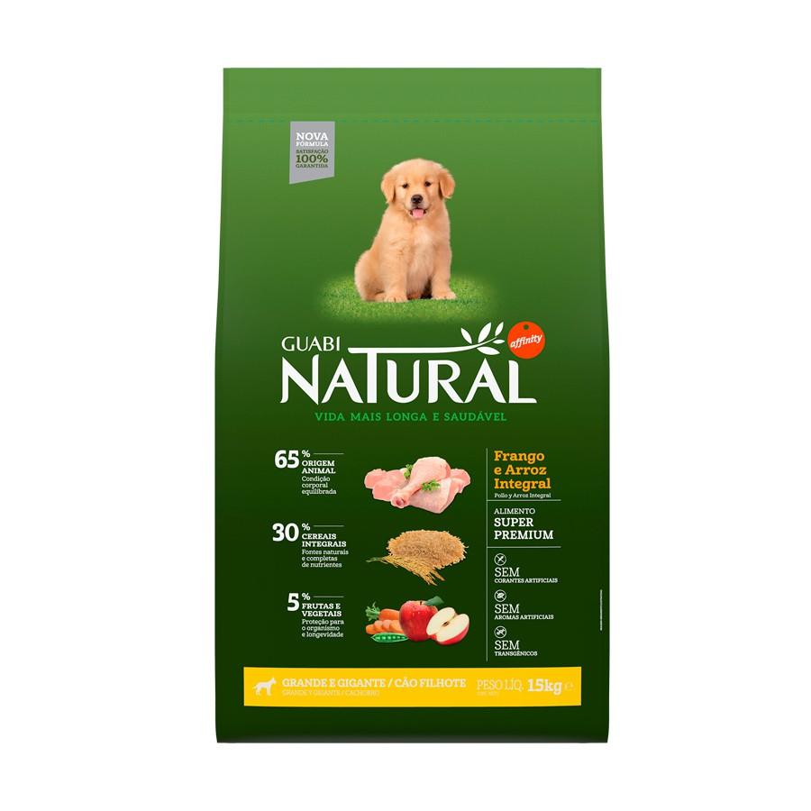 Ração guabi natural frango e arroz integral para cães filhotes porte grande e gigante 15kg