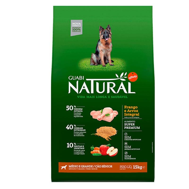 Ração guabi natural frango e arroz integral para cães senior porte médio e grande 15kg