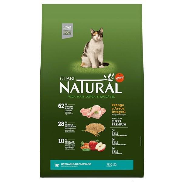 Ração Guabi Natural Frango e Arroz Integral para Gatos Adultos Castrados