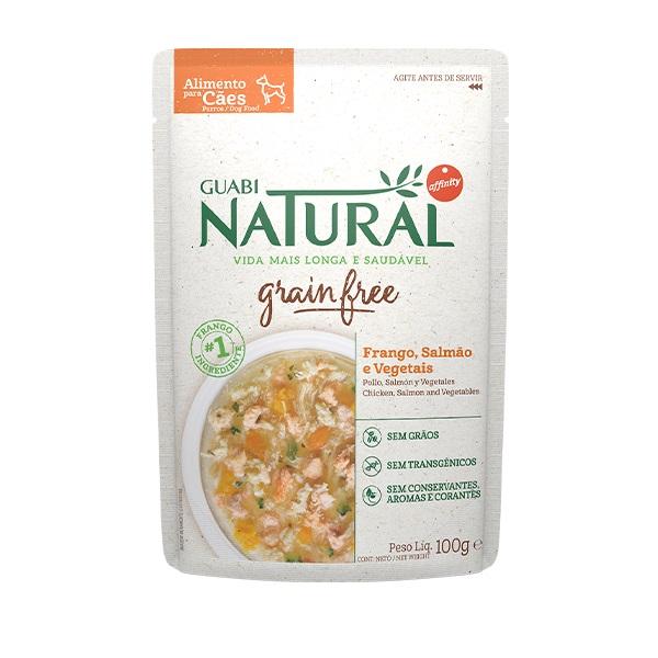 Ração Guabi Natural Grain free sache adulto frango, salmão e vegetais para cães 100g