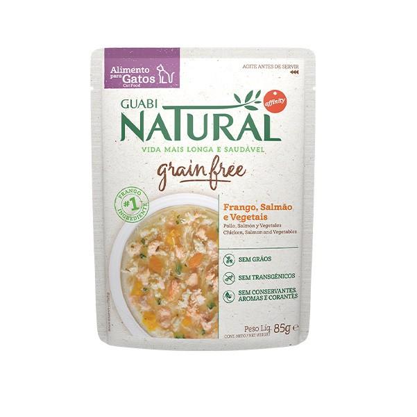 Ração Guabi Natural Grain free sache adulto frango, salmão e vegetais para gatos 85g