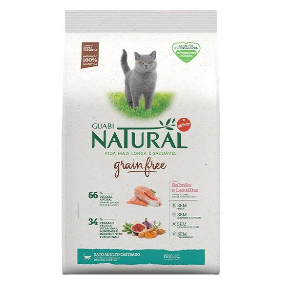 Ração Guabi Natural Grain Free Salmão e Lentilha para Gatos Adultos Castrados