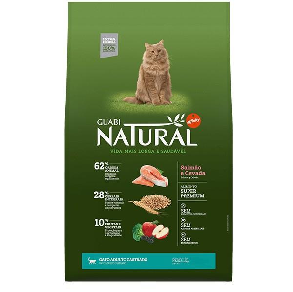 Ração Guabi Natural Salmão e Cevada para Gatos Adultos Castrados 1,5kg