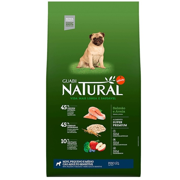 Ração Guabi Natural Sensitive Salmão e Aveia para Cães Adultos Porte Pequeno e Médio