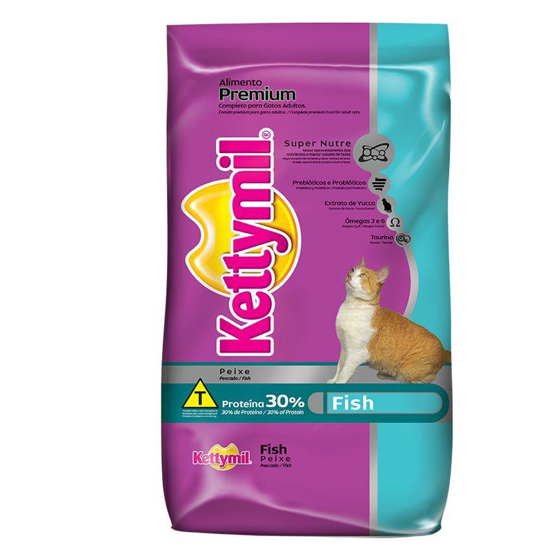Ração Kettymil Fish Peixe para Gatos Adultos