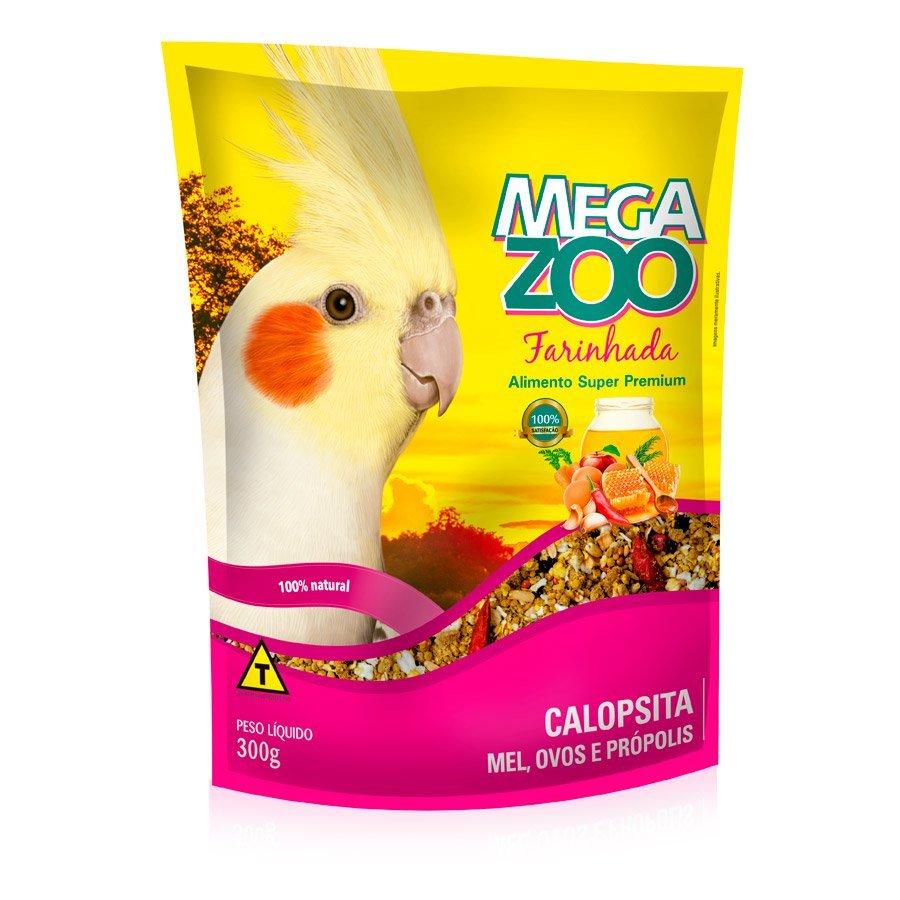 Ração megazoo farinhada para calopsita mel com ovos e própolis 300g