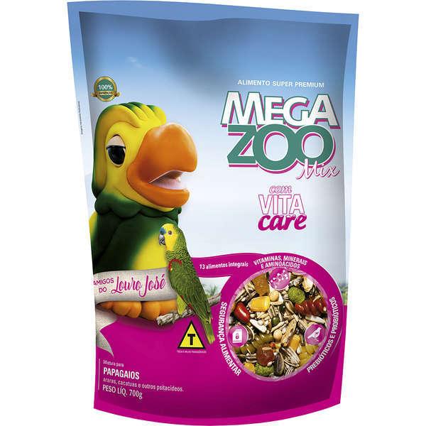 Ração megazoo mix papagaio amigos do louro josé 700g