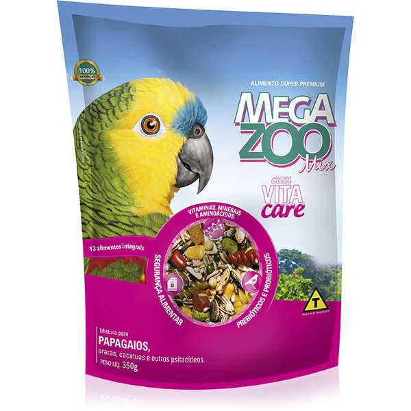 Ração megazoo mix para papagaio com frutas 350g