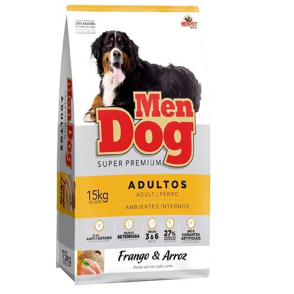 Ração mendog cães adulto raças medias e grandes sabor frango e arroz 15kg
