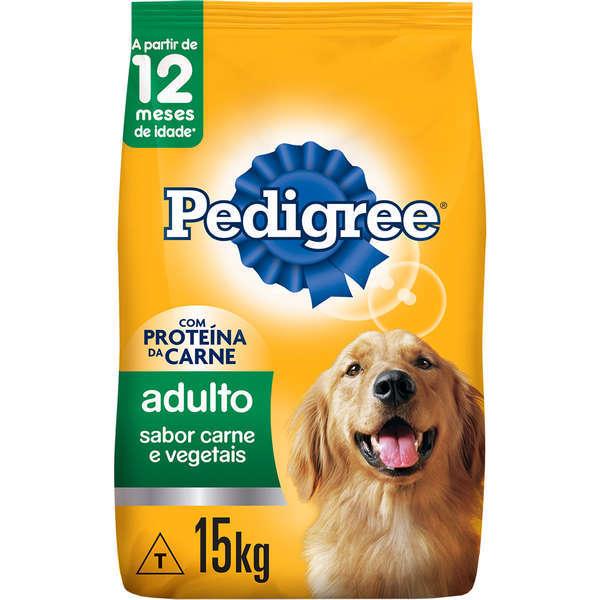 Ração pedigree carne e vegetais para cães adulto raças médias e grandes