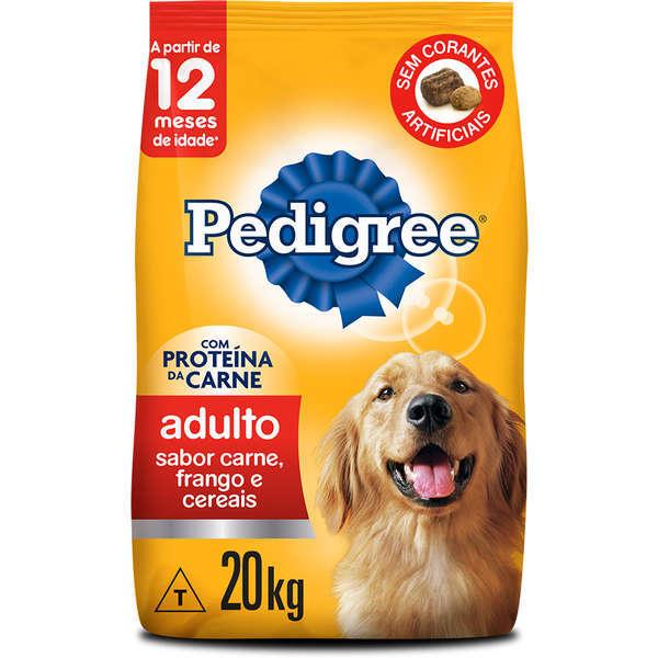Ração pedigree carne, frango e cereais para cães adulto raças médias e grandes 20kg
