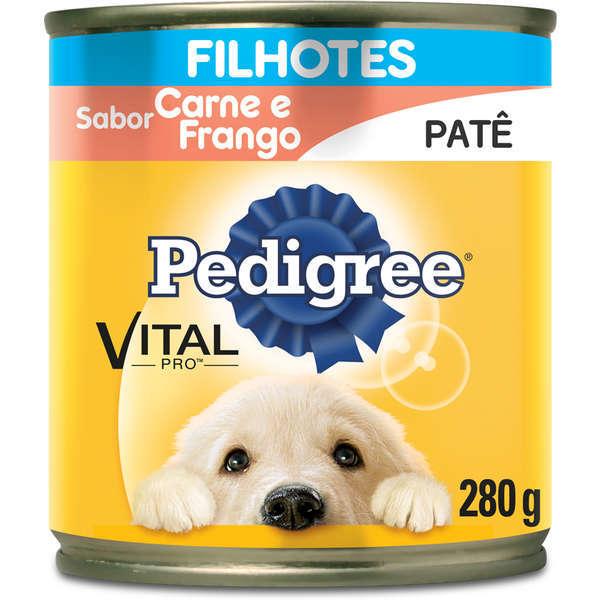 Ração pedigree lata carne e frango pate para cães filhote 280g